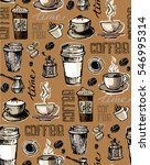 coffee  doodle seamless pattern ... | Shutterstock .eps vector #546995314