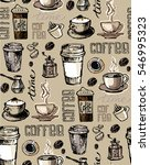 coffee  doodle seamless pattern ... | Shutterstock .eps vector #546995323
