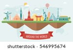 travel composition with famous... | Shutterstock .eps vector #546995674