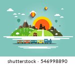flat design landscape with...   Shutterstock .eps vector #546998890