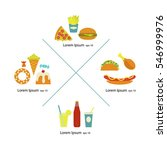 flat fast food menu icons. junk ... | Shutterstock .eps vector #546999976