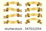 set of golden ribbons on beige... | Shutterstock .eps vector #547012354