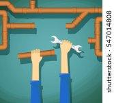 plumber holding in his hand... | Shutterstock .eps vector #547014808
