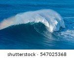 A Huge Wave Breaking In Nazare...