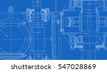 mechanical engineering drawing. ... | Shutterstock .eps vector #547028869
