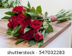 Stock photo luxury bouquet made of red roses in flower shop valentines bouquet of red roses 547032283