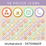set of 50 police icons on...