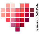 Pixel Heart In Shades Of Red ...