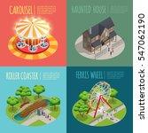 Amusement Park Concept Icons...
