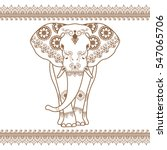 Elephant Vector With Border...