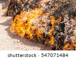 Small photo of Yanar Dag - burning mountain. Azerbaijan. closeup