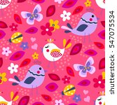Cute Birds Seamless Pattern...