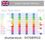 2018 english planner calendar... | Shutterstock .eps vector #547089910