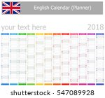 2018 english planner calendar... | Shutterstock .eps vector #547089928