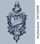 stippled heart and dagger | Shutterstock .eps vector #54710098