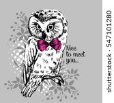 vector owl with bow. hand drawn ... | Shutterstock .eps vector #547101280