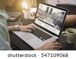 business hand typing on a...   Shutterstock . vector #547109068