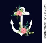 hand drawn anchor with floral... | Shutterstock .eps vector #547112224