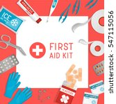 flat lay first aid kit. medical ... | Shutterstock .eps vector #547115056