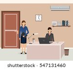 office room interior with two... | Shutterstock .eps vector #547131460