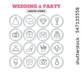 wedding and party icons. dress  ... | Shutterstock .eps vector #547135558