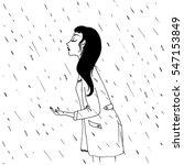 girl under the rain   vector... | Shutterstock .eps vector #547153849