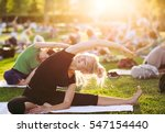 yoga woman on green grass. | Shutterstock . vector #547154440