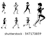 female marathon runners... | Shutterstock .eps vector #547173859