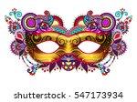 3d gold venetian carnival mask...   Shutterstock .eps vector #547173934