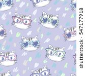 vector cat pattern  cat... | Shutterstock .eps vector #547177918