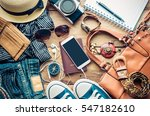 travel accessories costumes.... | Shutterstock . vector #547182610