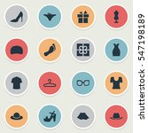 set of 16 simple dress icons....