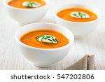 fresh homemade cream of carrot...   Shutterstock . vector #547202806