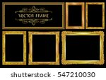 set of gold photo frame with... | Shutterstock .eps vector #547210030