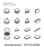 sandwiches hamburger hotdog... | Shutterstock .eps vector #547212838