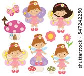cute garden fairy vector... | Shutterstock .eps vector #547242250