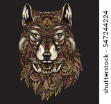 highly detailed abstract wolf... | Shutterstock .eps vector #547244224
