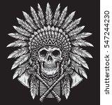 bold native american skull... | Shutterstock .eps vector #547244230
