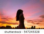 happy woman in the city looking ... | Shutterstock . vector #547245328