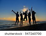 group of happy young people... | Shutterstock . vector #547260700