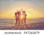 group of happy young people... | Shutterstock . vector #547263679