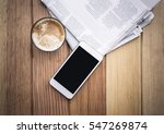 cup of coffee with newspaper... | Shutterstock . vector #547269874