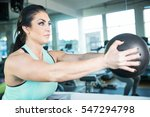 strong  healthy woman holding... | Shutterstock . vector #547294798