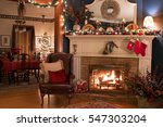 cozy christmas fireplace setting | Shutterstock . vector #547303204
