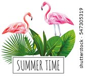 slogan summer time tropical... | Shutterstock .eps vector #547305319