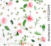 Stock photo valentines day background floral pattern made of pink and beige roses green leaves branches on 547322044