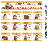 desserts  cakes  cupcakes cards.... | Shutterstock .eps vector #547336339