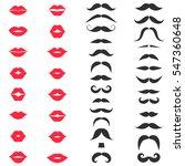 set of mustache and women's red ... | Shutterstock .eps vector #547360648