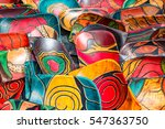 rows of carved  hand painted... | Shutterstock . vector #547363750