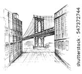 Hand Drawn Manhattan Bridge...